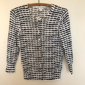 J.Crew black and white heart button down cardigan